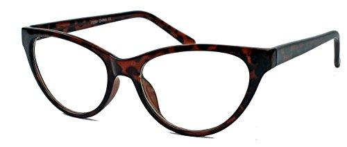 kleinere filigrane Damen Nerd Brille 50er 60er Jahre Cat Eye Brillengestell Klarglas CN90 (Braun)