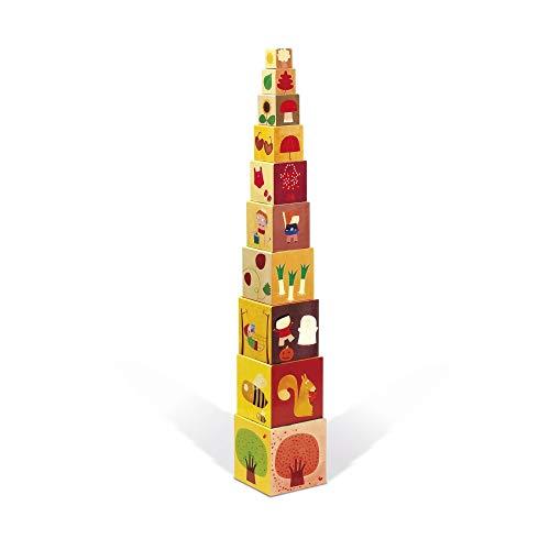Janod - 02917 - Pyramide Carrée - Les 4 Saisons - 10 Cubes