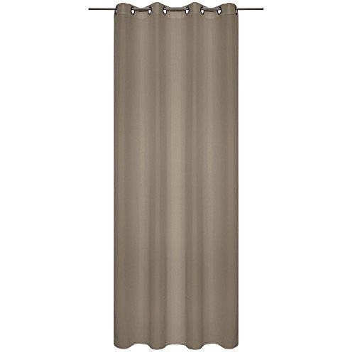 WOMETO Vorhang mit Ösen Blickdicht in Taupe, ca. 140 cm x 245 cm, Waschbar, Verstärkung an Den Ösen, hochwertig, aufwendig verarbeitet