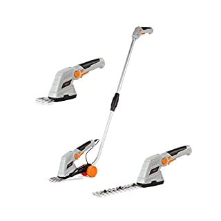 VonHaus 7.2V 2 in 1 Grass and Hedge Trimmer - Battery Powered Cordless, Interchangeable Blades, Easy Tool Blade Change, Telescopic Handle & Trolley Wheel Attachments - Lightweight Electric Trimmer