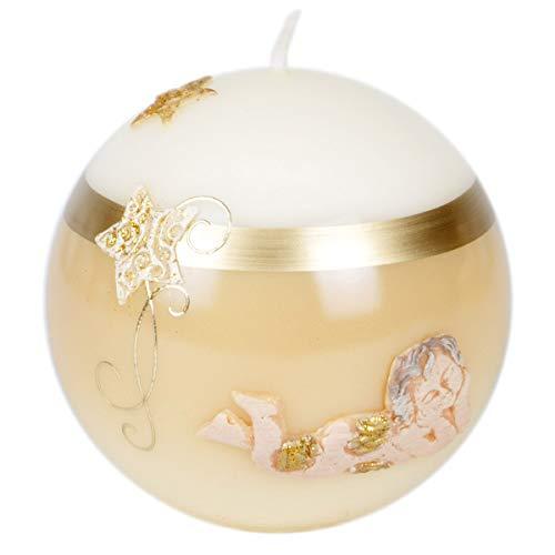 100mm de diámetro Bola Vela Vela de Navidad Ángel lacado color crudo