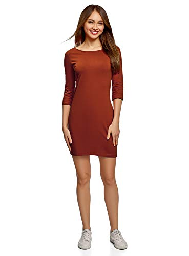 oodji Ultra Damen Baumwoll-Kleid Basic, Orange, DE 38 / EU 40 / M