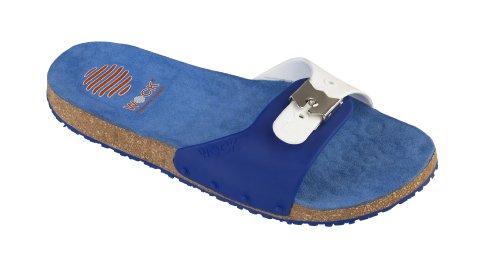 Sandale de confort Sanus-Chaussure professionnelle WOCK-Antidérapante; Lanière réglable; Microfibre; Liège Bleu