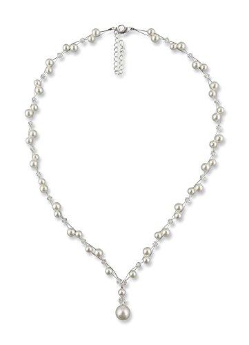 Rivelle Damen Y-Kette mit Perlen Marlene Creme Perlenkette Perlen Collier Halskette Necklace Modeschmuck Hochzeit