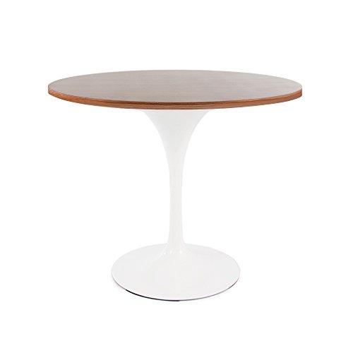 Tulip Stil Tisch rund in weiß, Eiche, Nussbaum, oder Marmor, Nussbaum, 90cm DINING HEIGHT