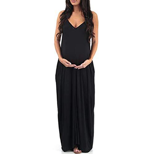 Pingtr - Stillnachthemd Damen Kurzarm Umstandsnachthemd,Sommerkleider Umstandskleider - Frauen Mutterschaft Schwangerschaft V-Ausschnitt ärmellose Sommer solide langes Kleid - Leinen Mutterschaft Rock
