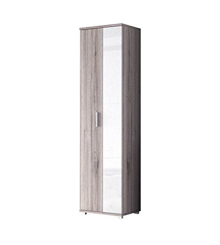 NEWFACE Zeitloser Garderoben-/Kleiderschrank, Holz, Sandeiche Dekor Kombiniert mit Weiß Hochglanz,...