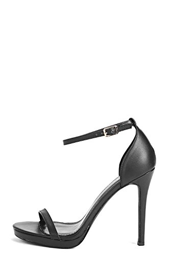 Schwarz Black Womens Elizabeth Single Platform Two Part Heels - 4 Schwarz