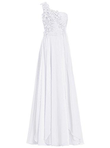 Dresstells Damen Bodenlang Chiffon One Shoulder Brautjungfernkleider Abendkleider Weiß