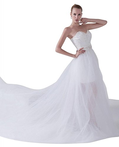 GEORGE BRIDE Neuer Entwurf Traegerlos Abnehmbare Schleppe Brautkleid Brautkleider Hochzeitskleider ,Groesse 42,Weiss