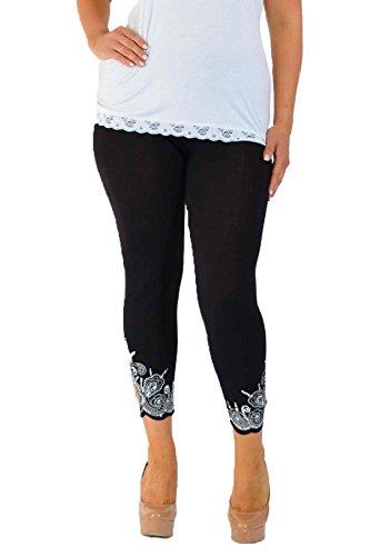 Neu Damen Übergröße Laser Schnitt Gamaschen Frau Ladies Plus Size Leggings mit Loch Laser Cut Nouvelle Collection Schwarz