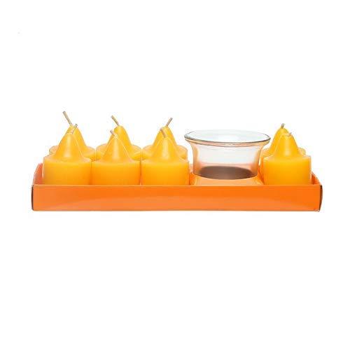 Nestroots Stern-Dekokerzen Set Duftkerzen Teelichthalter Lange Brenndauer 5 Stunden - Set mit 8 orangefarbenen Kerzen & 1 Votivkerze in Geschenkverpackung. Russ Vase