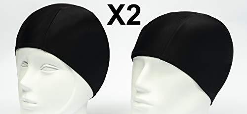 2X Gorros de Baño de Licra/Gorro de Natacion de Tela para Adulto Hombre o Mujer Unisex/Ligero y Elastico/para Piscina o SPA/Talla Unica Negro (2)