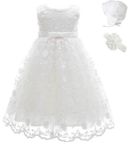 AHAHA Baby Mädchen Lange Taufkleider Besondere Anlässe Taufe Festlich Kleid mit Hut und Stirnband