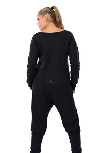 Col bateau - U bateau col roulé de dames pixie dust de 3Elfen - Femmes De Épaule Pull / Sweater off-shoulder Noir vert