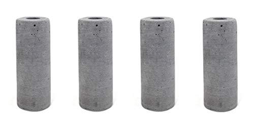 DARO DEKO Kerzenhalter Ständer 5,5 x 14,5cm hellgrau 4 Stück