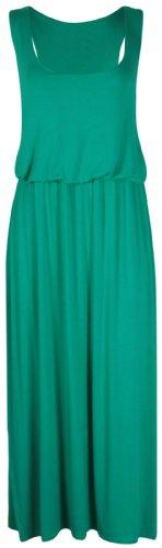 Purple Hanger - Robe Femme Maxi Sans Manche Uni Dos Nageur Taille Froncé Elastiqué Sans Manche Neuf Vert jade