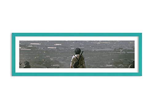 Bild im blauen Holzrahmen - Bild im Rahmen - Bild auf Leinwand - Leinwandbilder - Breite: 90cm, Höhe: 30cm - Bildnummer 4101 - zum Aufhängen bereit - Bilder - Kunstdruck - F1CAB90x30-4101