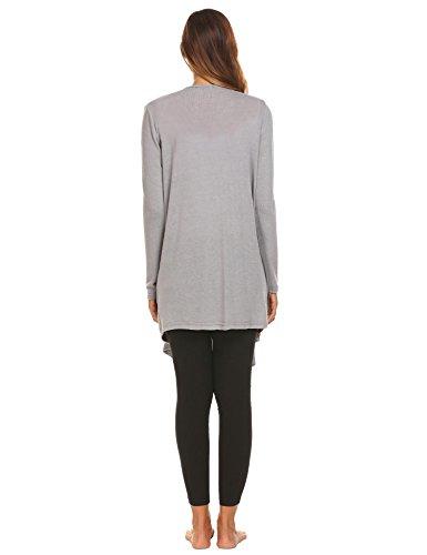 ADOME Strickjacke Langarm Böhmisch Pullover Lang loose Cardigan Bluse Outwear Oberteil Grau