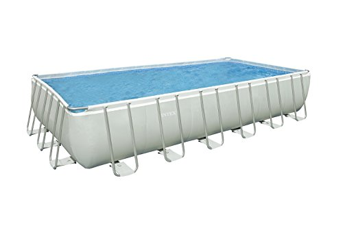 Intex Kit Piscine Ultra Frame 7,32 X 3,66 M X 1,32 m - Tubulaire Métal Ronde - Filtre À Sable 7,9 m3 Inclus