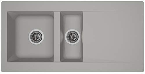 respekta Mineralite Spüle Küchenspüle Spülbecken Einbauspüle Denver 100x50 betongrau