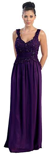 Abendkleid Boden-lang mit Träger für Hochzeit Brautmutterkleid kaschierend  Ballkleid elegant aus Chiffon mit Pailletten Festliches Kleid in großen  Größen ... 7a290b8ab0