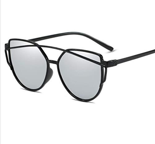 WYJW Men \u0026 Ladies Tone Color Cat Eye verspiegelte Flache Gläser Street Fashion Metallrahmen Mädchen Aviator Sonnenbrille UV 400 Schutz