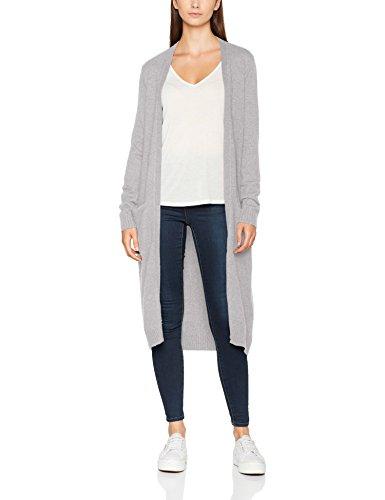 VILA CLOTHES Damen Strickjacke Viril L/S Long Knit Cardigan-Noos, Grau (Light Grey Melange), 36 (Herstellergröße: S)