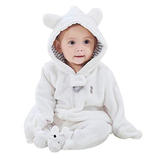Baywell Baby Overall, Langram Reißverschluss Cartoon Tiermuster Niedlich Hoodie Baby Strampler Onesie (weiß, S/0-3 Monate)