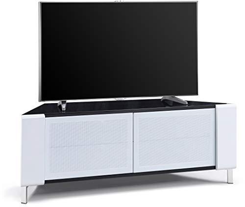MDA Designs Corvus Eckenfreundlicher Schrank mit weißen Glastüren, geeignet für Flachbildfernseher bis 127 cm White Side Profiles