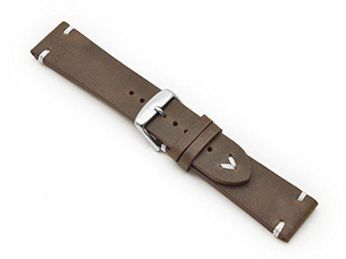 Cinturino in pelle cuciture bianche 20mm band Retro Look Quality Strap...