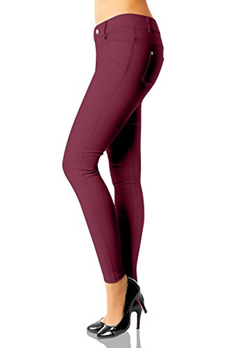Damen Hose Treggings Skinny Röhre Nr.359 Bordeaux