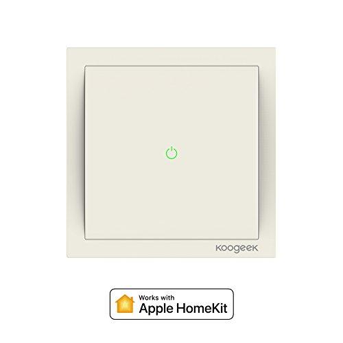 Koogeek Wi-Fi Commutateur intelligent Smart Light pour Apple HomeKit et Siri Remote Control support 2.4 GHz réseau pole beige