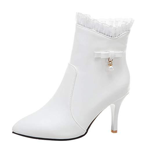 Kurze Stiefel Damen Party High Heels mit Pfennigabsatz Sexy Wasserdichte Plattform High Heel Stiefeletten Outdoor Elegant Knöchel Leder Boots ABsoar -