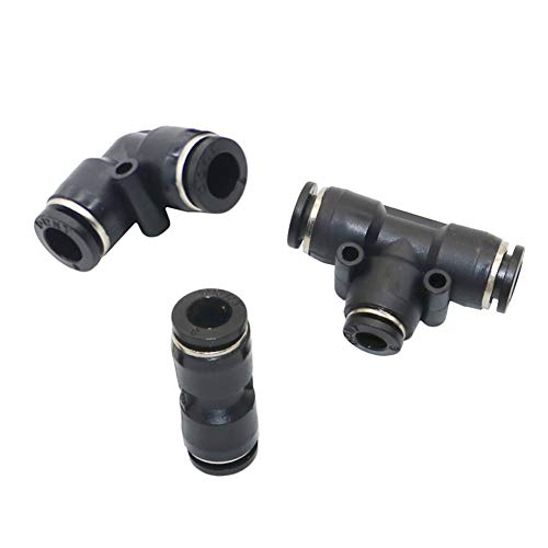 PNX 6mm Tee, Elbow, Straight Hose Connector Pneumatic Pipe Slip-Lock Quick Connector Mist Cooling Pipe Joint Adapter 5 Pcs -