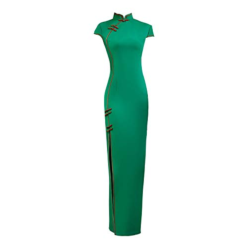 YAN Chinese Cheongsam Qipao Dress-Oriental Wedding Outfit Clothing Costume for Girls Women Gown Party Cocktail Beach Dress Green,Green,XL