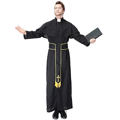 Männlich Nonne Kostüm - COSOER Vater Nonne Maria Cosplay Kostüm Jesus Christus Missionar Priester Kleidung Für Halloween Männlich/Weiblich Wear,Male2-XL