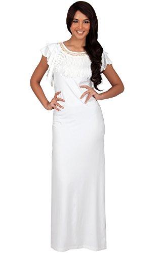 chnitt Kürze Flügelärmel Maxikleid Elegante Lange Kleid Verziert, Farbe Elfenbein Weiß, Größe M / Medium (2) (Kirche Halloween-event)
