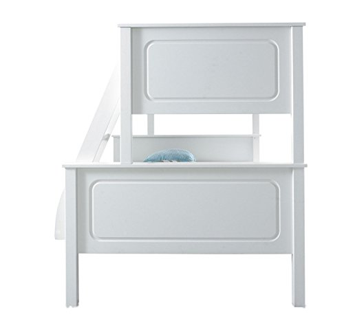 Happy Beds Vancouver Bunk Bed Triple Sleeper White Solid Pine Wood 2x Pocket Sprung Mattress 4' Small Double 120 x 190 cm