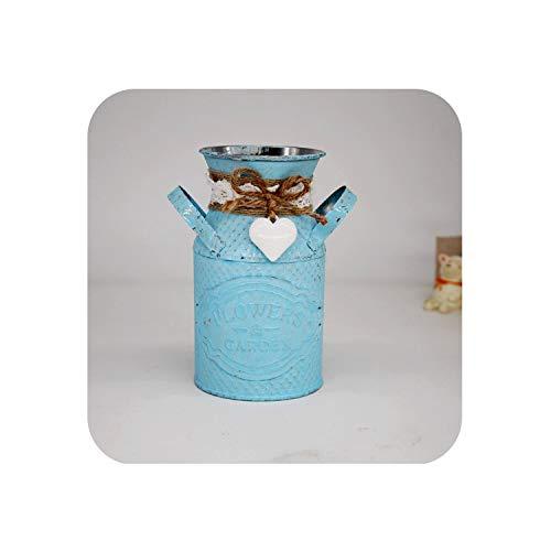Margot-Charismatic-Shop vases Vintage Metall Eisen Fass Altmetall Blumen Vase Blumentopf Hängend Balkon Garten Pflanze Blume Fass Kreative Kunst Home Dekoration blau Vintage-kompott
