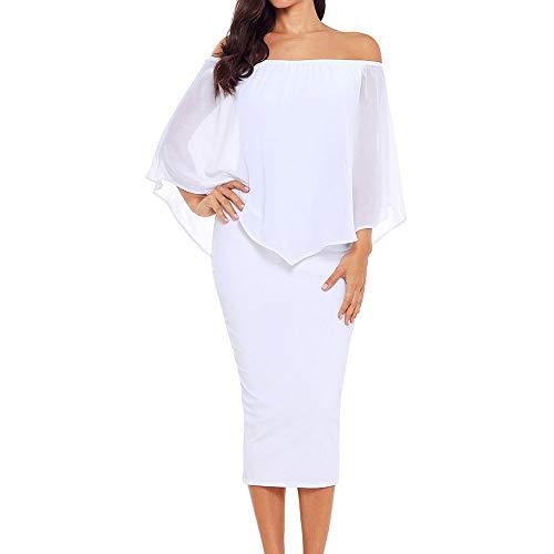 Ancapelion Damen Schulterfrei Midi Kleid mit Chiffon Schal Cocktailkleid Elegant Pencil Partykleid Lässige Kleidung Abendkleid Frauenkleid Kleider, S(EU 36-38), Weiß -