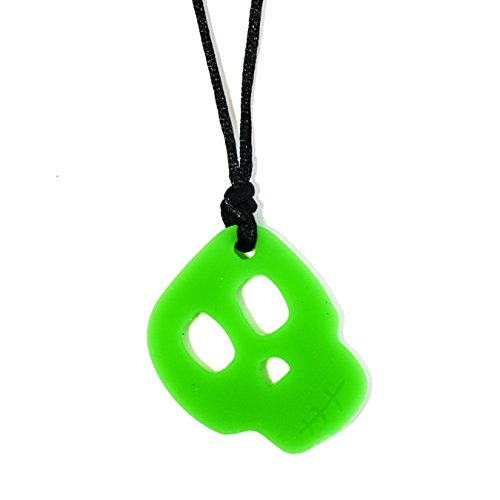 Chewigem Sensory Chew Skull Necklace – Chewlery Fidget Toy- Autism ADHD – Green