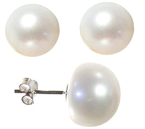 Classical 925 Sterling Silver 12.0mm Pearl Ladies Stud