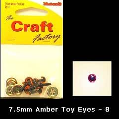 Craft Factory Toy Eyes for Crafts 7.5mm Amber