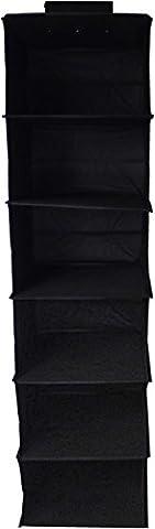 Neusu 6 Shelf Hanging Organiser - Premium Quality - Black