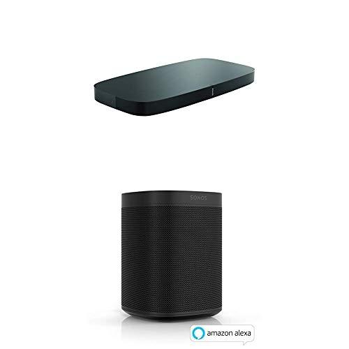 Sonos Playbase WLAN Soundbase, schwarz - Fernsehlautsprecher mit kraftvollem Sound für Heimkino & Musikstreaming + 2x One Smart Speaker, schwarz
