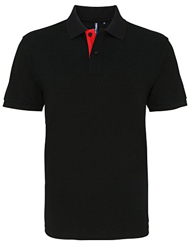 Asquith & Fox Mens Classic Fit Contrast Polo - 6 Colours / Sml-3XL heather/ navy