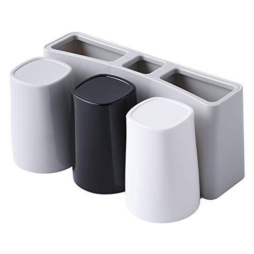 NMSL 2 x Wandmontierter Zahnbürstenhalter Aus Lebensmittel PP Kunststoff, Zum Reinigen Abnehmbar, Für Badezimmer (Mit DREI Tassen) (Kunststoff-tassen Zum Verkauf)