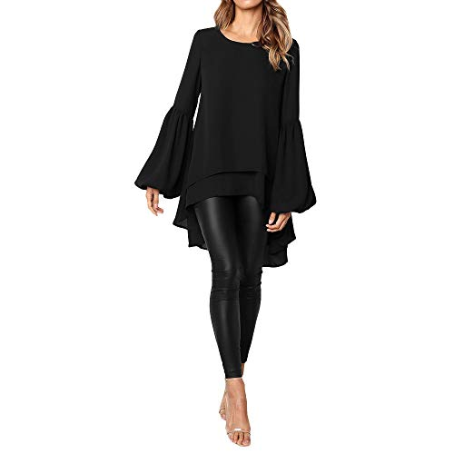 ❤ Mode Femme Casual Couleur Unie Col Rond Asymétrique Ourlet Manchon de Cloche Slim Chic Tricoté Pullover T Shirt Tops Simple Blouse Long Robe en Vrac feiXIANG (Noir,L)