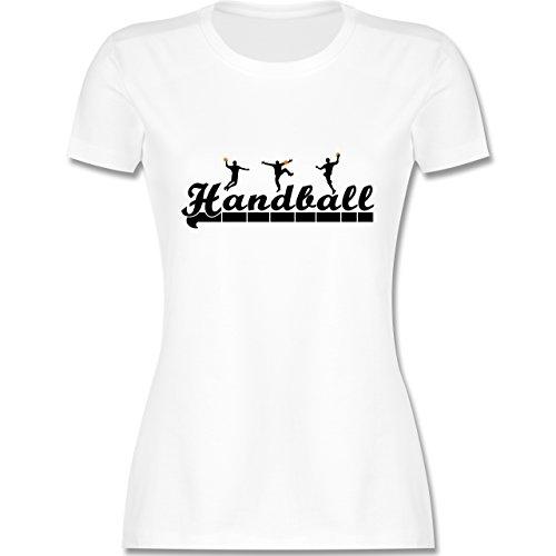 Handball - Handball Sturm Torwart Schriftzug - tailliertes Premium T-Shirt mit Rundhalsausschnitt für Damen Weiß